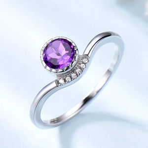 Created Purple Amethyst Engagement Ring Silver